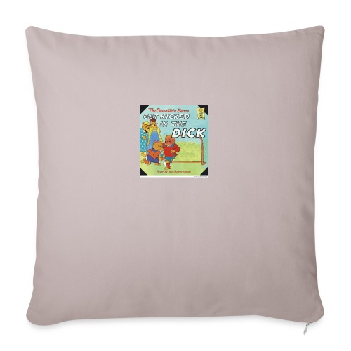 "kicked in the dick - Throw Pillow Cover 18"" x 18"""