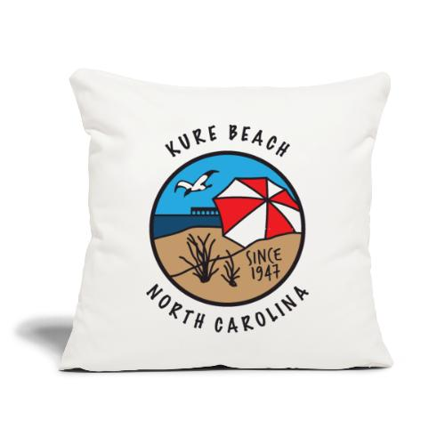 """Kure Beach Day-Black Lettering-Front Only - Throw Pillow Cover 18"""" x 18"""""""