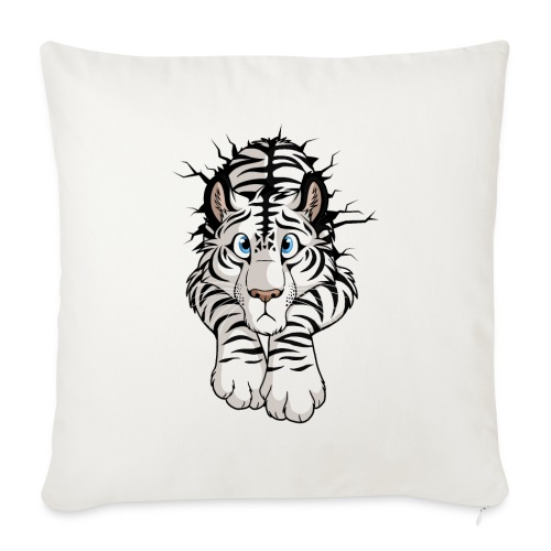 """STUCK Tiger White (double-sided) - Throw Pillow Cover 17.5"""" x 17.5"""""""