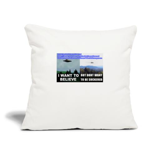 """tshirt i want to believe with back Crew Logo - Throw Pillow Cover 17.5"""" x 17.5"""""""