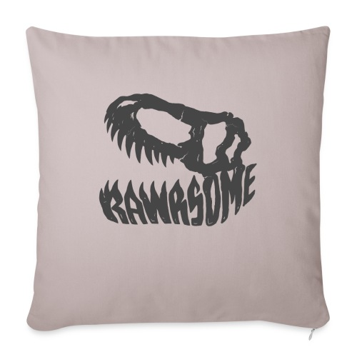 "RAWRsome T Rex Skull by Beanie Draws - Throw Pillow Cover 17.5"" x 17.5"""