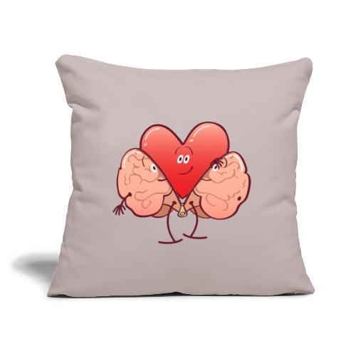 "Cartoon heart getting rid of brain costume - Throw Pillow Cover 17.5"" x 17.5"""