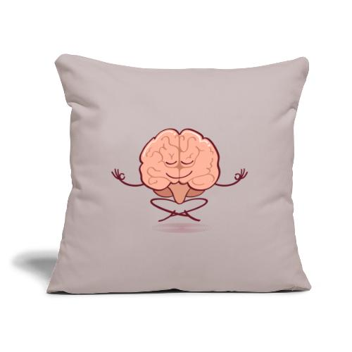"Cartoon brain meditating in lotus pose - Throw Pillow Cover 18"" x 18"""