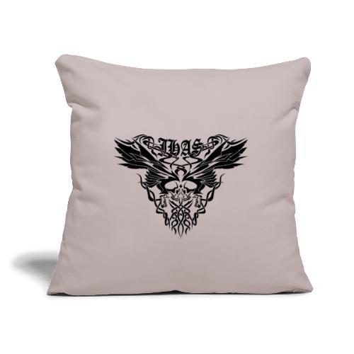 """Vintage JHAS Tribal Skull Wings Illustration - Throw Pillow Cover 18"""" x 18"""""""