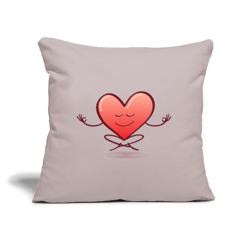 """Cartoon heart smiling and meditating in lotus pose - Throw Pillow Cover 18"""" x 18"""""""