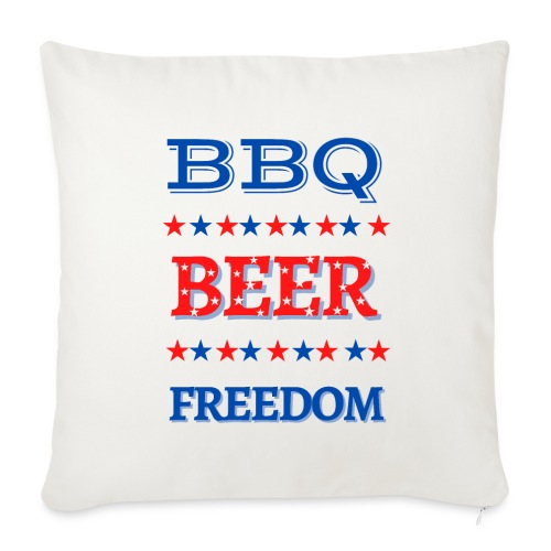 "BBQ BEER FREEDOM - Throw Pillow Cover 17.5"" x 17.5"""