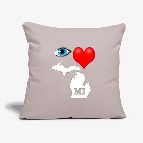 """I Love Michigan, Eye Heart Michigan - Throw Pillow Cover 17.5"""" x 17.5"""""""