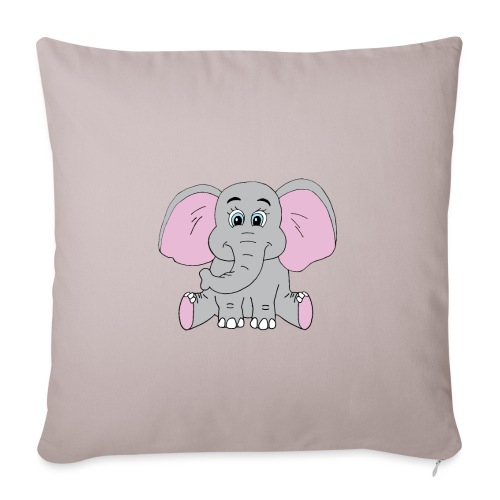 "Cute Baby Elephant - Throw Pillow Cover 18"" x 18"""
