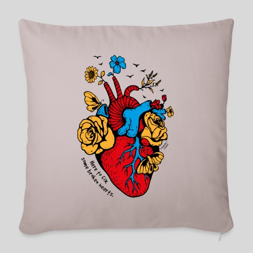 "A beautiful heart - Throw Pillow Cover 18"" x 18"""