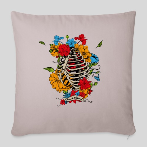 "Flowers in my chest - Throw Pillow Cover 18"" x 18"""