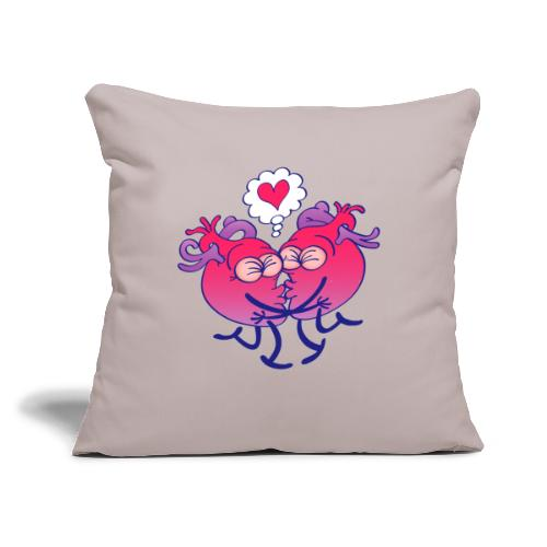 """Couple of hearts in love kissing passionately - Throw Pillow Cover 17.5"""" x 17.5"""""""