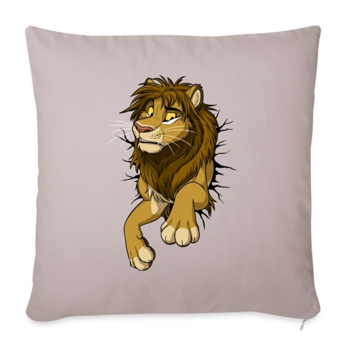 "STUCK Lion (black cracks) - Throw Pillow Cover 17.5"" x 17.5"""