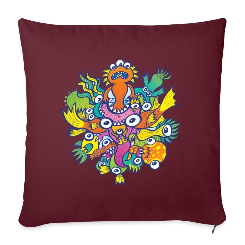 """Don't let this evil monster gobble our friend - Throw Pillow Cover 17.5"""" x 17.5"""""""