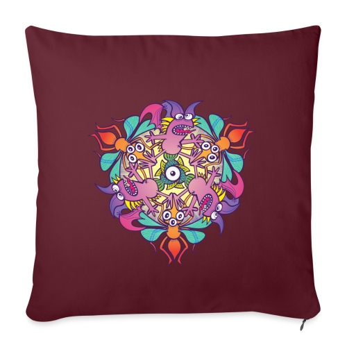 """Mosquitoes, bats and fishes in doodle art style - Throw Pillow Cover 17.5"""" x 17.5"""""""