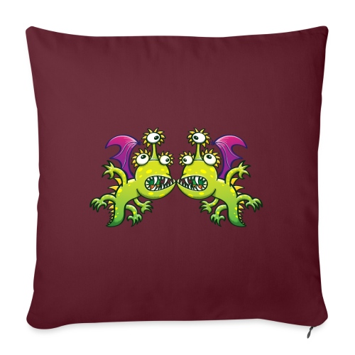 """Three-eyed monstrous dragons face to face meeting - Throw Pillow Cover 17.5"""" x 17.5"""""""