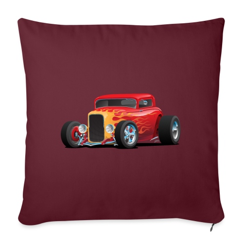"Classic Bold Red Custom Street Rod - Throw Pillow Cover 17.5"" x 17.5"""