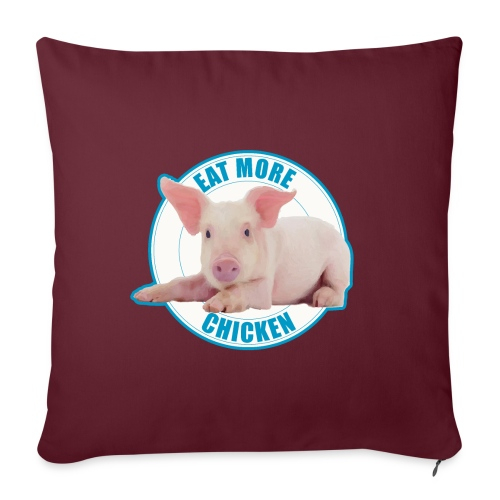 """Eat more chicken - Sweet piglet print - Throw Pillow Cover 17.5"""" x 17.5"""""""