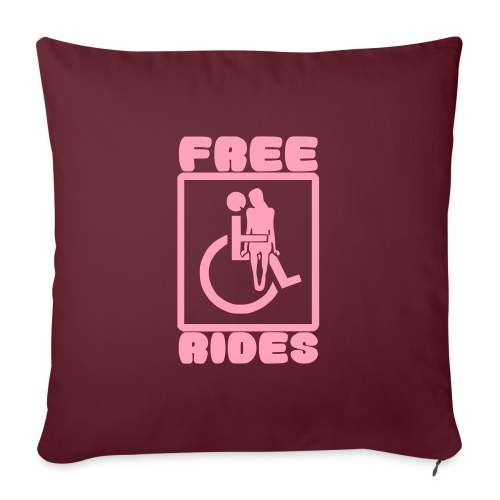 "Free rides, wheelchair humor - Throw Pillow Cover 17.5"" x 17.5"""
