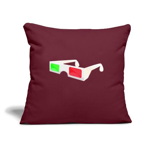 """3D red green glasses - Throw Pillow Cover 17.5"""" x 17.5"""""""