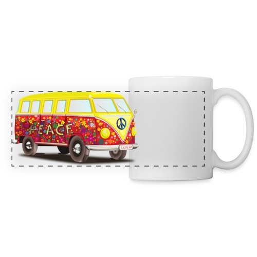 hippie peace and cool fun awesome illustration - Panoramic Mug