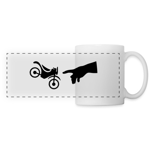 The hand of god brakes a motorcycle as an allegory - Panoramic Mug