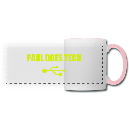 Paul Does Tech Yellow Logo With USB (MERCH) - Panoramic Mug