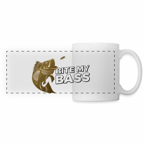 Bass Chasing a Lure with saying Bite My Bass - Panoramic Mug