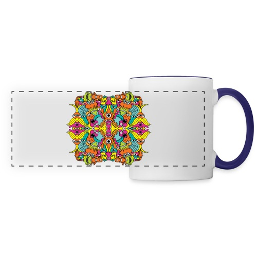 Aquatic monsters in a pattern in doodle art style - Panoramic Mug