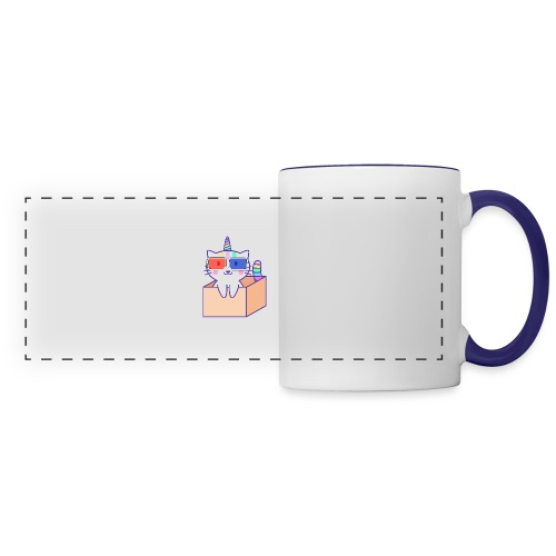 Unicorn cat with 3D glasses doing Vision Therapy! - Panoramic Mug