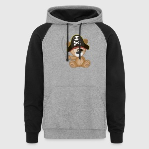little pirate bear animal children - Colorblock Hoodie