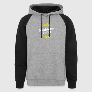 Sask Strong White and Gold - Colorblock Hoodie