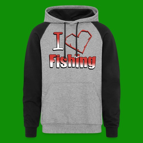 I heart fishing - Unisex Colorblock Hoodie