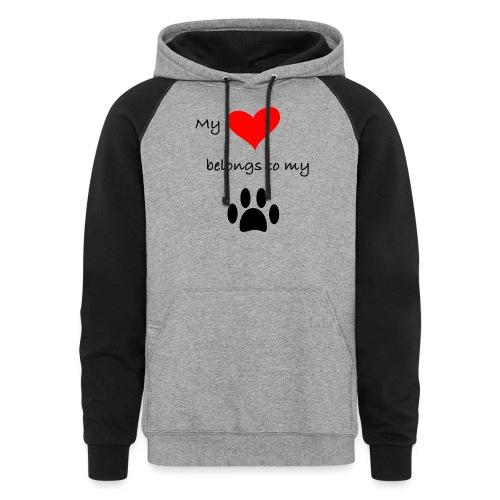 Dog Lovers shirt - My Heart Belongs to my Dog - Colorblock Hoodie