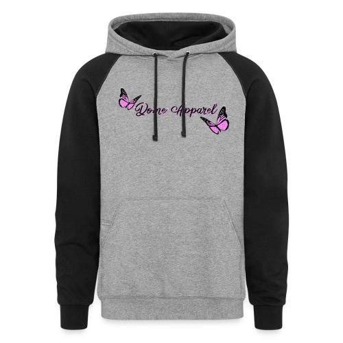 Pink Butterfly Design - Unisex Colorblock Hoodie