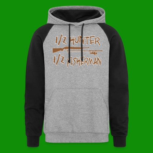 1/2 Hunter 1/2 Fisherman - Unisex Colorblock Hoodie