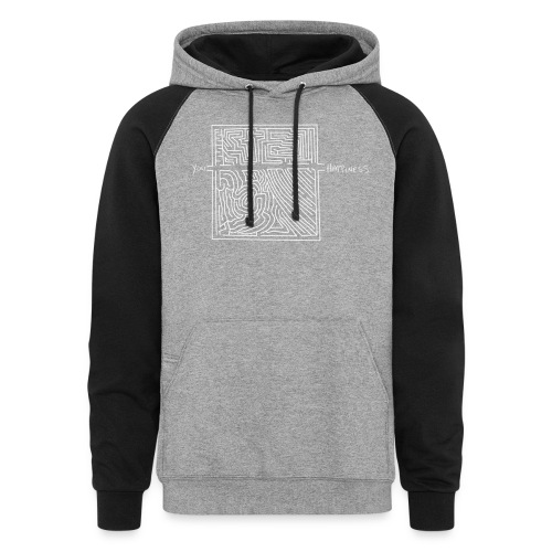 Happiness (White Print) - Colorblock Hoodie