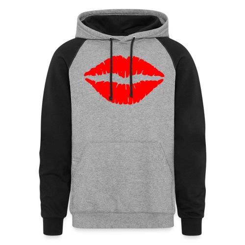 Red Lips Kisses - Colorblock Hoodie
