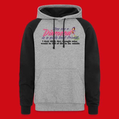 Softball Diamond is a girls Best Friend - Unisex Colorblock Hoodie