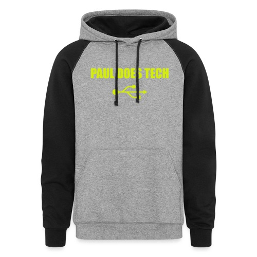 Paul Does Tech Yellow Logo With USB (MERCH) - Colorblock Hoodie