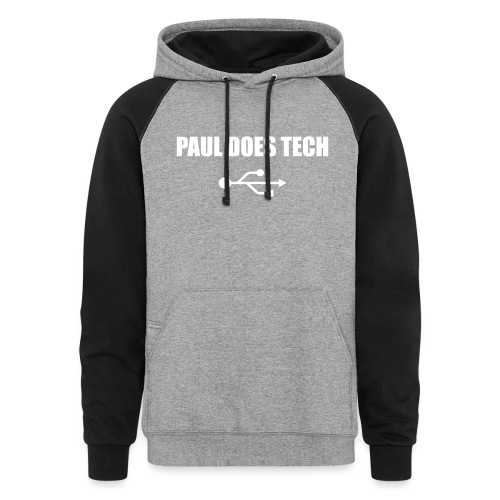 Paul Does Tech White Logo With USB - Colorblock Hoodie