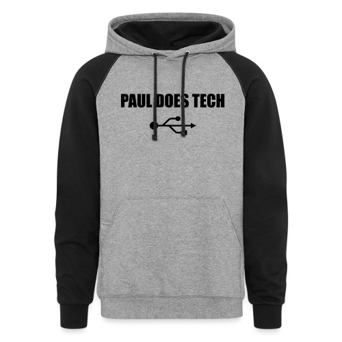 Paul Does Tech Logo Black with USB - Colorblock Hoodie