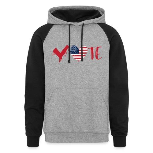 vote heart red - Colorblock Hoodie