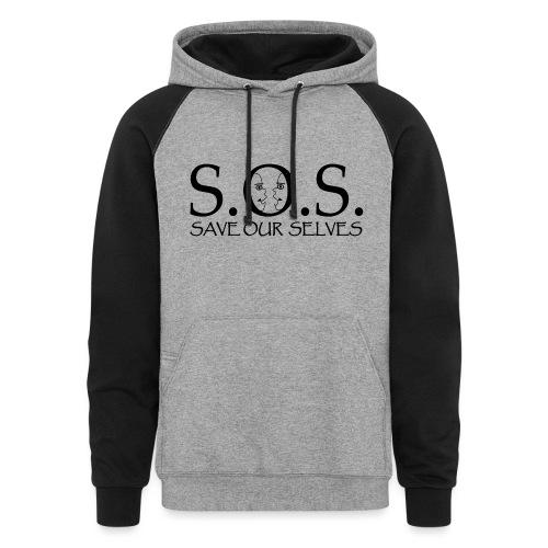 SOS Black on Black - Unisex Colorblock Hoodie