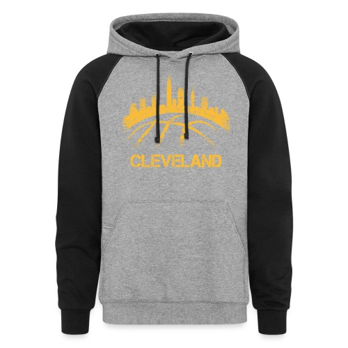 Cleveland Basketball Skyline - Unisex Colorblock Hoodie