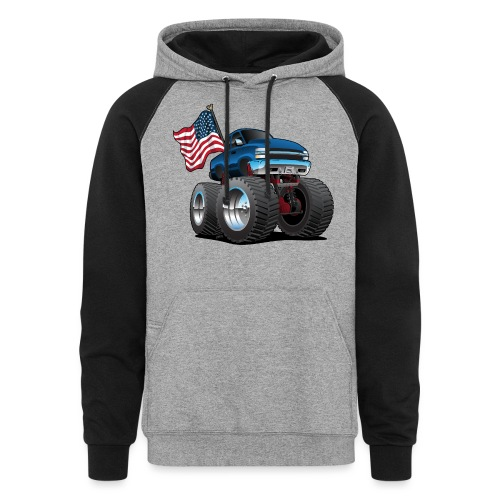 Monster Pickup Truck with USA Flag Cartoon - Colorblock Hoodie