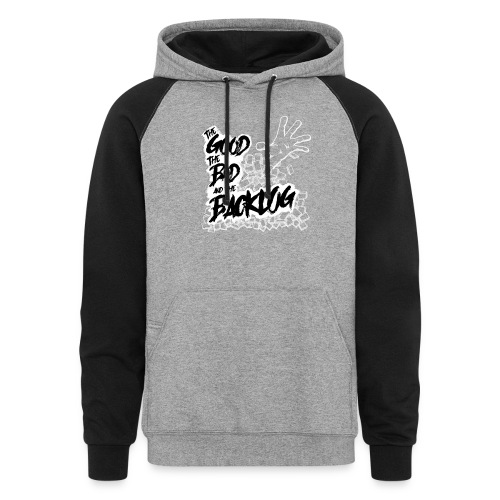 The Good, the Bad, and the Backlog - White logo - Unisex Colorblock Hoodie