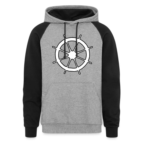 Steering Wheel Sailor Sailing Boating Yachting - Unisex Colorblock Hoodie