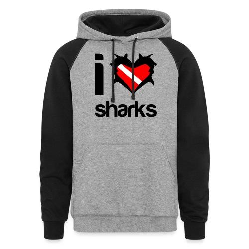 I Love Sharks - Unisex Colorblock Hoodie