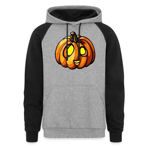 Pumpkin Halloween watercolor scribblesirii - Colorblock Hoodie