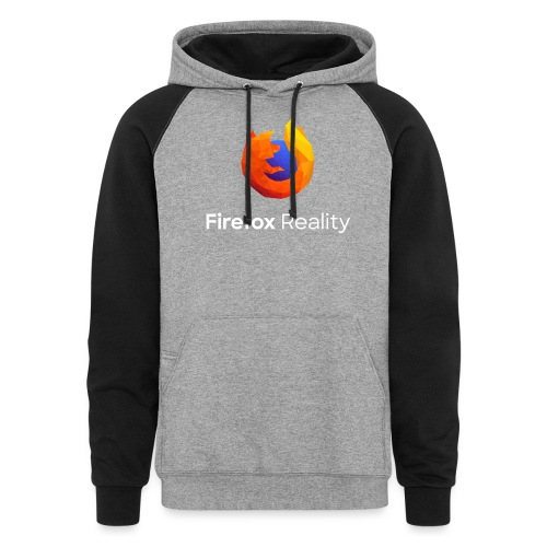 Firefox Reality - Transp., Vertical, White Text - Unisex Colorblock Hoodie